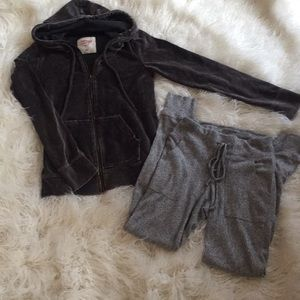 Mossimo Supply Co. Pants - Grey Velvet Hoodie and Grey Lounger Bundle XS/M